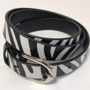 Zebra print black and white skinny belt